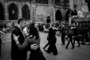 Couples dancing in the street
