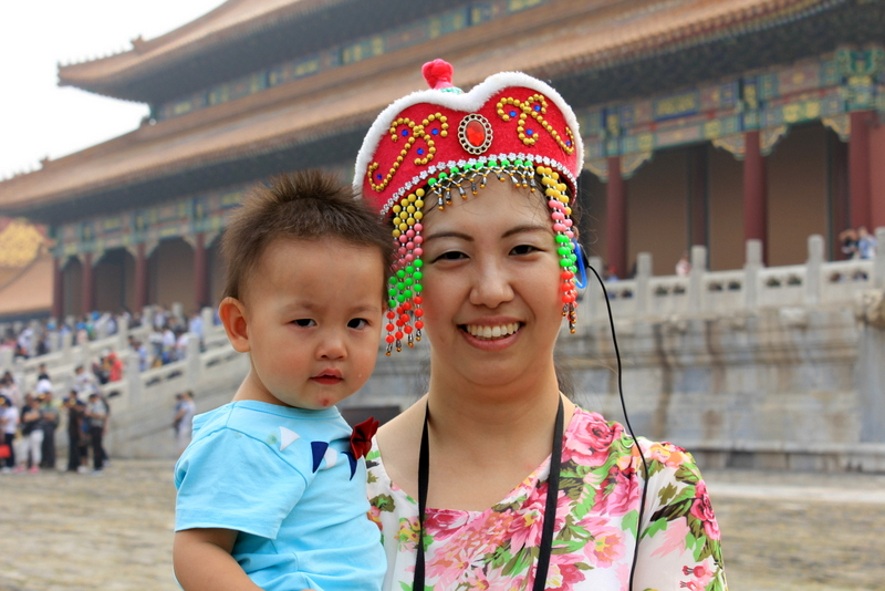 Mother and son in Forbidden City